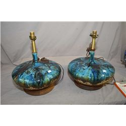 """Pair of vintage retro style glazed stoneware lamps on teak bases, 19"""" in height"""