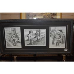 """Framed triplet of western themed prints including """"Small Wonders"""", """"Potty Break"""" and """"Boys Will be B"""