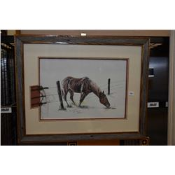 Rustic framed limited edition print of a horse feeding past his fence pencil signed by artist Ron M.