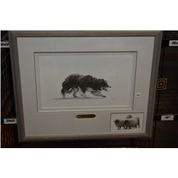 """Framed limited edition print """"Sheep Dawg"""" pencil signed by artist D. Groot, 140/150"""