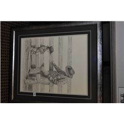 """Framed limited edition print """"But Mom Said No"""" pencil signed by artist Lorraine Mack Livoiron, 18/35"""