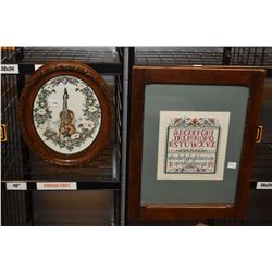 Two framed needleworks including a violin and a copy of a vintage sampler, note strangely missing an