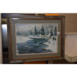 """Framed limited edition print titled """"Dark and Cold"""" pencil signed by artist D. C. Lund (Corb Lund's"""