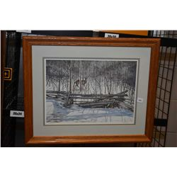 Framed limited edition print of a deer in the wood, pencil signed by artist Richard D. Wolfe, 1286/2
