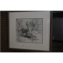 """Framed charcoal drawing """"Morning Mists"""" signed by artist D. King '93, 12"""" X 10"""""""