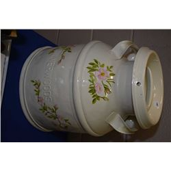 Vintage Silverwoods cream can with painted floral design