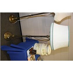 Mid 20th century standing tri-light with newer shade and wiring