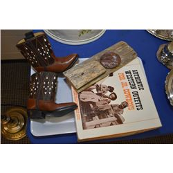 """Pair of six 6 1/2"""" child's cowboy boots made by Rodeo USA, a new in box pair of leather size medium"""
