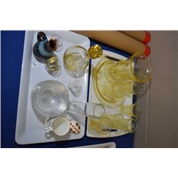 Selection of depression glass including pitcher and six glasses and divided dish plus drinks decante