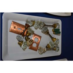 Selection of collectibles including six passages sets of vintage glass door handles, brass switch co