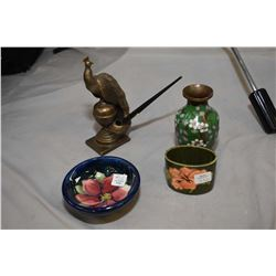"Two small pieces of Moorcroft pottery, vintage cloisonn' vase and a bronze 7"" peacock pen holder"