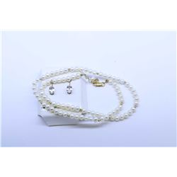 "Birks 18kt yellow gold and knotted pearl necklace 14"" in length plus a pair of 10kt yellow gold and"