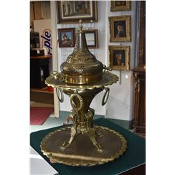 "Antique brass church incense burner on brass tray, 32"" tall and tray 23"" wide"