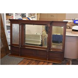"""Antique mahogany over mantle with three bevelled mirrors 72"""" in length and 44"""" in height"""