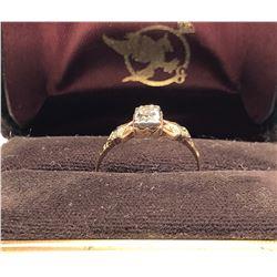 LADIES RING, SIZE 7 1/2, 10K GOLD / DIAMOND, ENGRAVED 1950