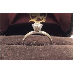 LADIES RING, SIZE 7 1/4, 14K WHITE GOLD / DIAMOND