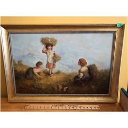 "FRAMED OIL, ""YOUNG HARVESTERS"", ARTIST POSSIBLY T. SUN - 17.5"" X 27.5""."