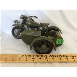 VINTAGE TIN MOTORCYCLE WITH SIDE CAR - MARKED U.S. ARMY