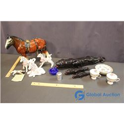 Lot of Cat and Horse Figurines