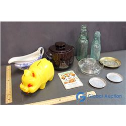Lot of Misc Household (Gravy Boat, Coin Bank, Glass Bottles, Coasters, Money Keeper)