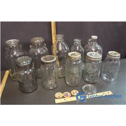 (10) Glass Milk Bottles & Jars w/Caps