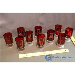(10) Red Glass Luminare Cordial Glasses