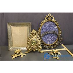 Ornate Brass Lot w/ Clock, Candle Holders and Frames