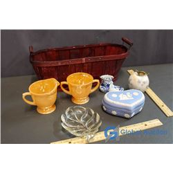 Basket with Fireking Cream and Sugar Set, Marble Apple, Wedgwood Dish, etc