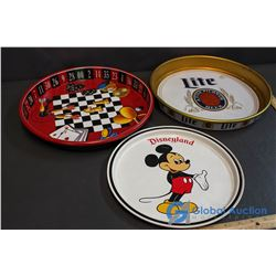 3 Metal Trays - Mickey Mouse, Beer, Gambling