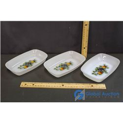 3 arcopal Milk Glass Serving Dishes