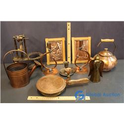 Box of Copper Ornaments - Teapot, Watering Can, etc