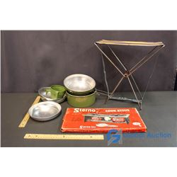 3 Piece Camp Lot - Sterno Cook Stove, Folding Stool, Camp Pots