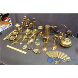 Assorted Brass Items - Candle Holders, Little Trays, Teapot, etc.