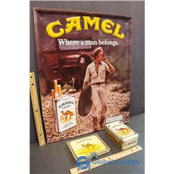 Camel Tins and Embossed Tin Camel Sign