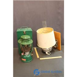 Coleman Lantern and Electric Wall Hanging Lamp (working)