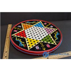 Vintage Chinese Checkers Game - Tin Canister/Board