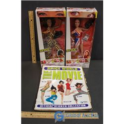 Spice Girls Girl Power - Ginger Spice and Scary Spice Dolls W/ Spice World the Movie Magazine