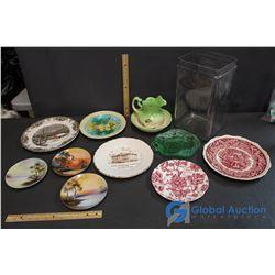 Plates, Large Glass Vase and Pitcher Bowl Set - Johnson Bros England, Mason's, Noritake