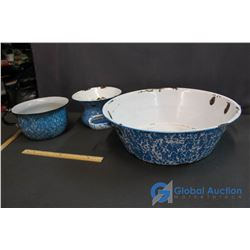 Blue and White Enamaled Bread Mixing Bowl, Pot and Spitoon