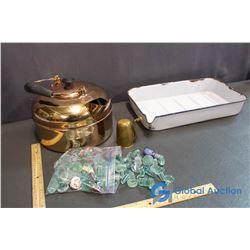 Enamaled Pan Copper Kettle, Glass Spout Stoppers