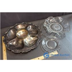 Plate E.P. Copper Serving Tray, Glass Plate and Serving Bowl