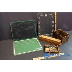 Vintage Writing Boards, Vintage Pencil Case, Vintage Priscilla Crayon Tin Case