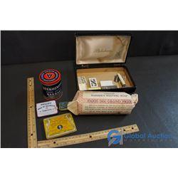 Vintage Colgate Barber's Shaving Soap, Razors, Leukolastic Bandage Tin W/ Contents, Asprin Tin, etc.