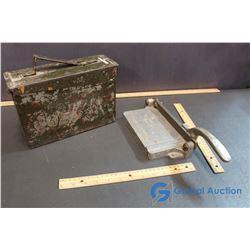 WWI Ammunition Box & Vintage Paper Cutter