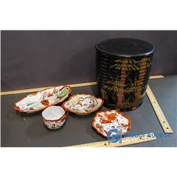 Lacquerd 3 Tiered Asian Server, Japanese China Pieces - Cup & Saucer, 2 Serving Dishes