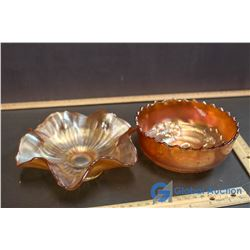 (2) Marigold Carnival Glass Dishes w/ Fluted Edge