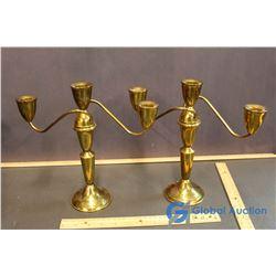 Pair of Jewelers Hand Spun Brass Candelabras