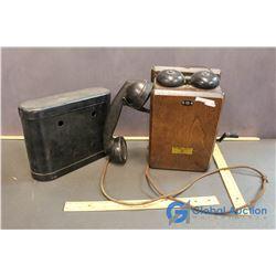 Northern Electric Oak Telephone w/ Battery Box