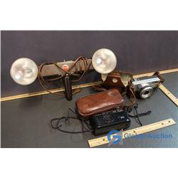 Ricoh Automatic 35 MM Camera, Kodak Movie Light, & Cannon Sureshot Camera in Case