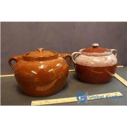 (2) Bean Pots w/ Lids